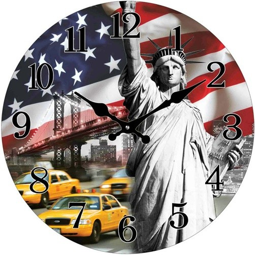 Glas Uhr Statue of Liberty Stars and Stripes 28 cm