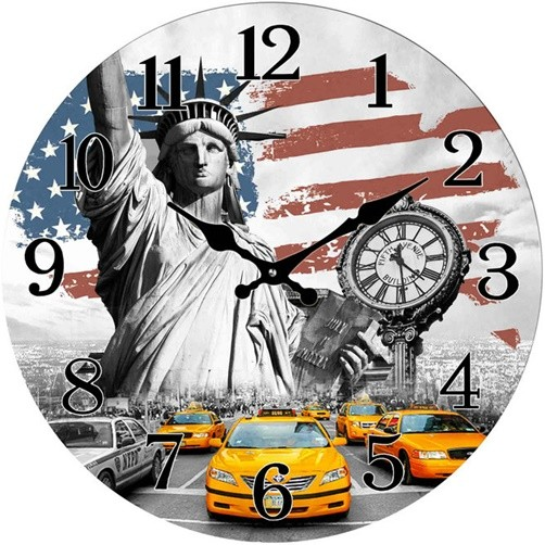 Glas Wanduhr New York Flagge Yellow Cabs 28 cm