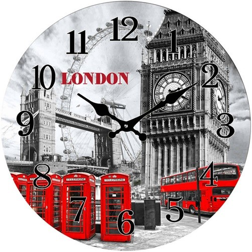Glas Uhr London 38 cm