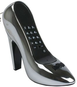 High Heel Telefon silber chrom