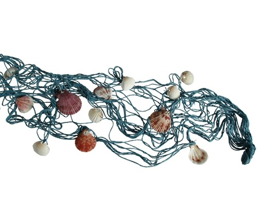 Blaues Deko Fischernetz mit Muscheln für maritime Deko