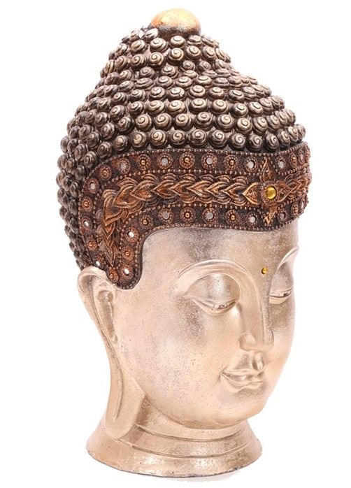 thai buddha kopf 41 cm goldfarben mit spiegeln und stein skulptur deko feng shui ebay. Black Bedroom Furniture Sets. Home Design Ideas