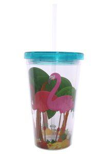 Trinkbecher mit Deckel und Strohhalm Flamingo