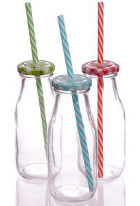 Retro Milchflasche mit Deckel und Strohhalm | Grün