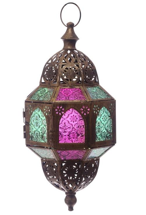 orientalische farbenfrohe laterne achteckig 53 cm. Black Bedroom Furniture Sets. Home Design Ideas