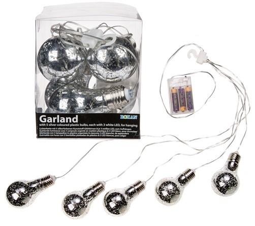Lichterkette mit 5 Kunststoff LED Glühbirnen silberfarben / antik