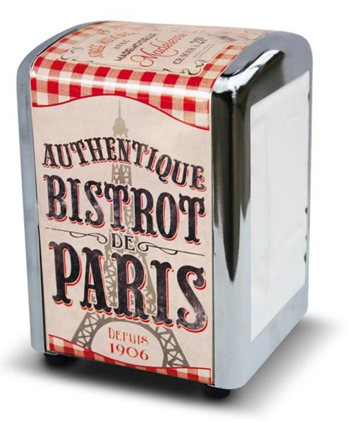 "Metall - Serviettenspender "" Bistrot de Paris """