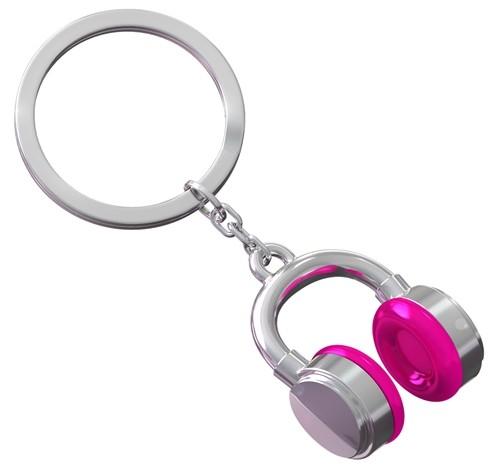 Schlüsselanhänger Kopfhörer pink chrom glänzend
