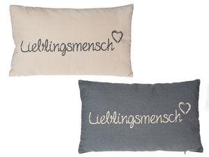 Kissen Lieblingsmensch 30 x 50 cm | Grau