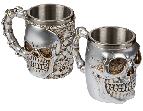 Silberfarbener Bierkrug mit Edelstahleinsatz Skull 600 ml 2 Modelle zur Auswahl