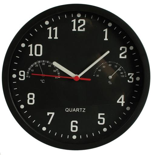Wanduhr Uhr Hygrometer Thermometer schwarz ...