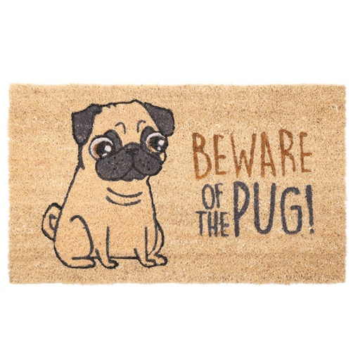 "Kokos Fußmatte ""Beware of the Pug!"""