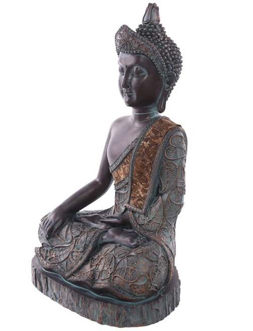 thai buddha figur sitzend 28 cm mit gr nspan effekt 2 modelle zur auswahl. Black Bedroom Furniture Sets. Home Design Ideas