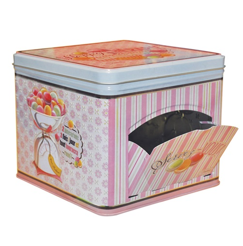Retro Metall - Vorratsdose Happy Therapie - Macarons  12 x 14 x 14 cm