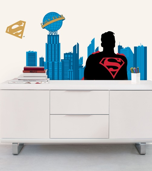 XXL Kinder Wandtattoo Superman City Metropolis von Warner