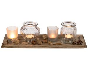 Holzteller + 4 Glas-Teelichthalter mit Deko