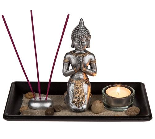 Buddha mit Holztablett Räucherstäbchenhalter und Teelichthalter
