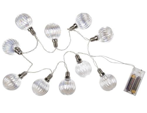 Lichterkette mit 10 strukturierten LED Glas - Glühbirnen