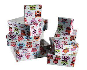 Geschenkverpackungen Kartons 8er Set Eulen