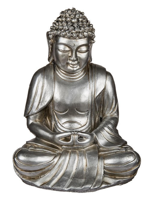 sitzender deko buddha silbermetallic 25 cm objektkult shop. Black Bedroom Furniture Sets. Home Design Ideas