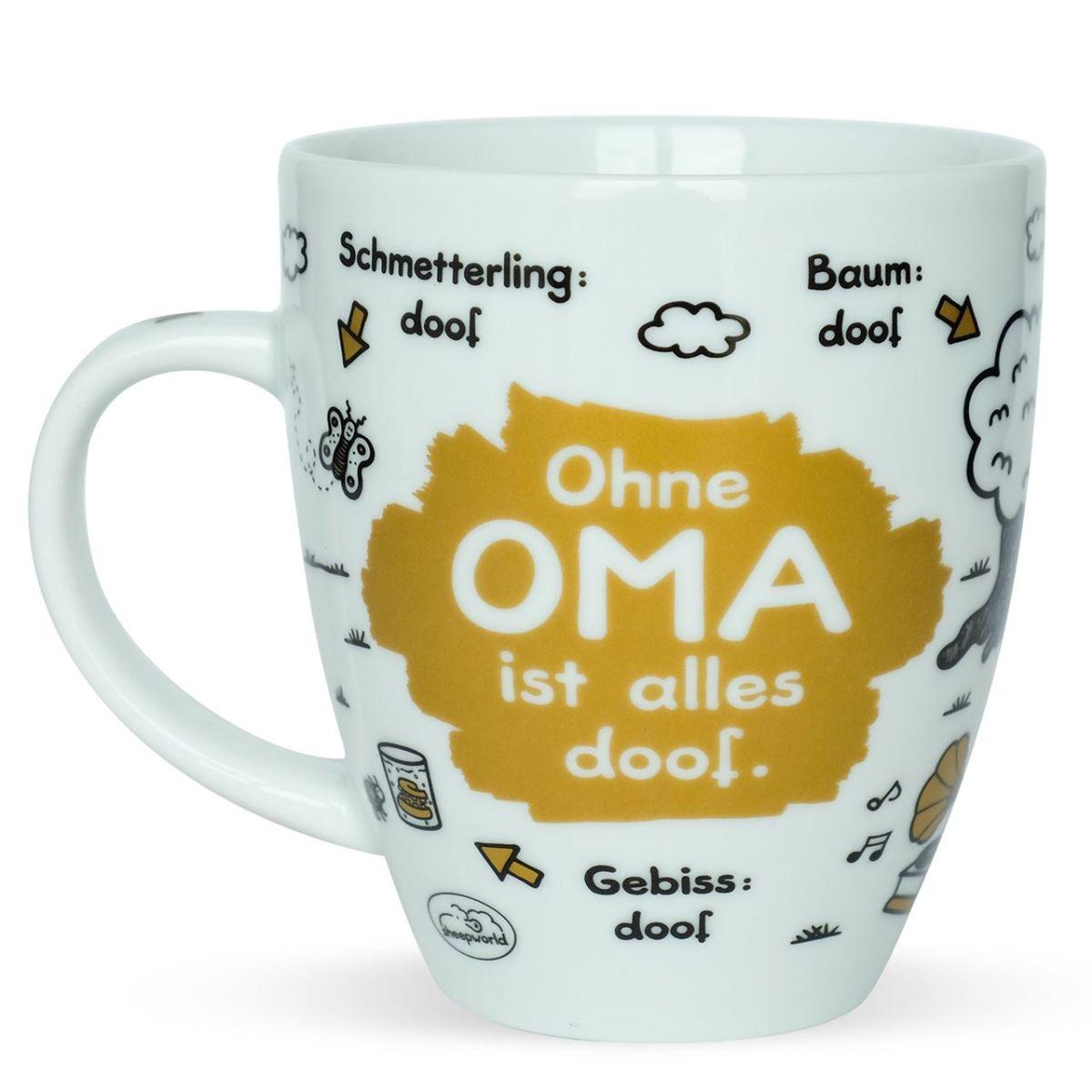 sheepworld tasse ohne oma ist alles doof 400 ml kaffeetasse kaffeebecher mug ebay. Black Bedroom Furniture Sets. Home Design Ideas