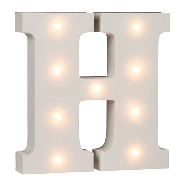 mit 6 LED Out of the blue beleuchteter Holz-Buchstabe L