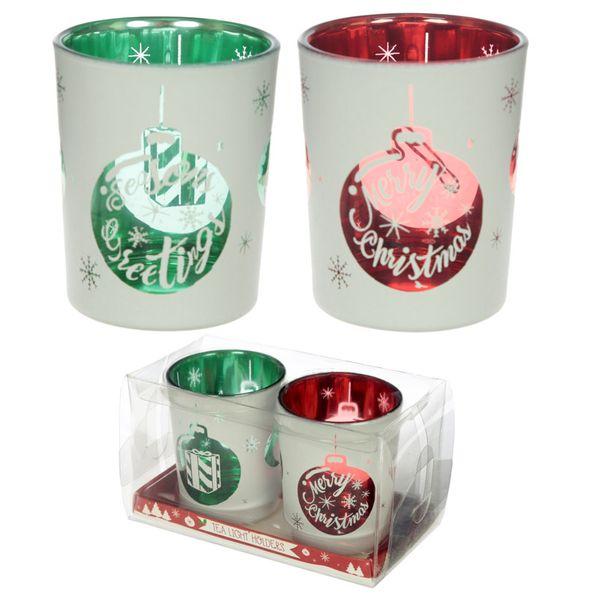 Glas Teelichthalter im 2er Set Weihnachtskugeln