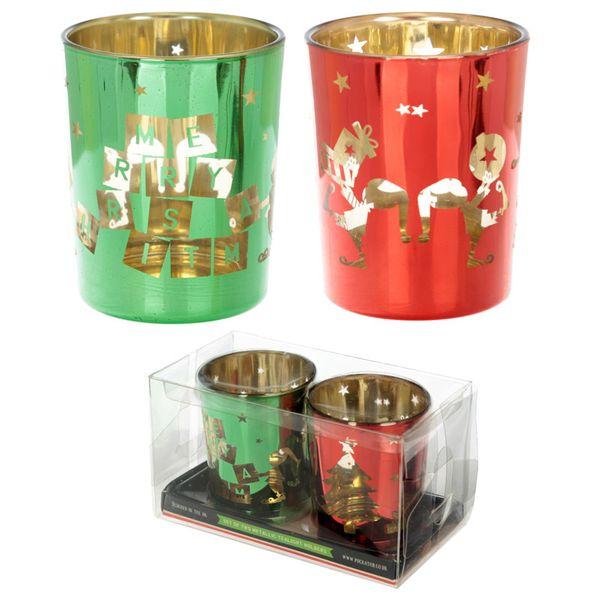 Glas Teelichthalter im 2er Set Weihnachtself