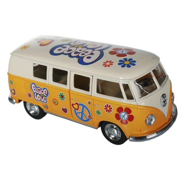 Schlüsselanhänger Modellauto VW Bus m Rückziehmotor Bulli T1 Flower Power