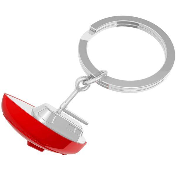 Metall Schlüsselanhänger Boot rot-silbern