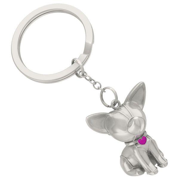 Metall Schlüsselanhänger Hund silber satiniert
