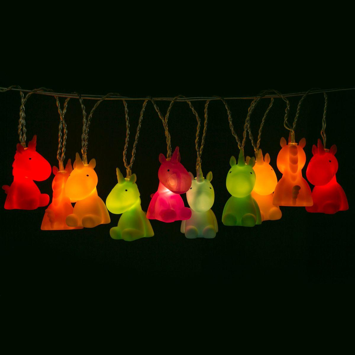 led lichterkette bunte einh rner einhorn lichtdeko lichtgirlande unicorn 5404006038329 ebay. Black Bedroom Furniture Sets. Home Design Ideas