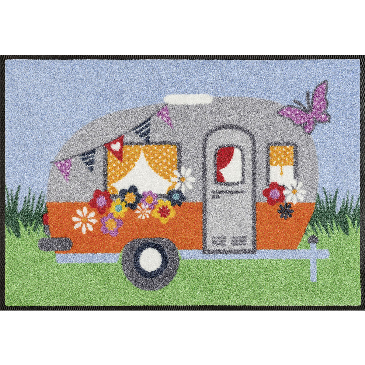 kleentex wash dry fu matte happy camping. Black Bedroom Furniture Sets. Home Design Ideas