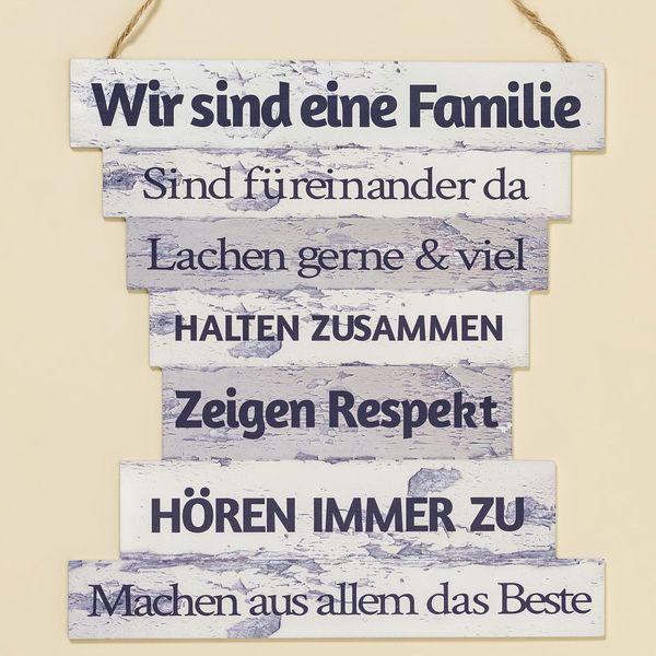 "Wanddeko ""Family"" / Hausordnung, 32 cm"