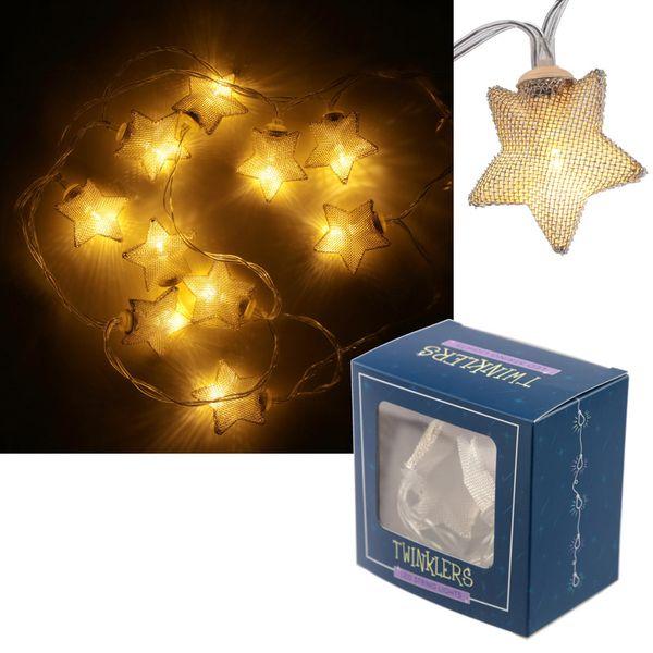 LED Lichterkette Metallic Stern, 2 Farben
