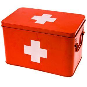 Metall Verbandskasten leer rot mit weißem Kreuz, 21 x 31,5 cm