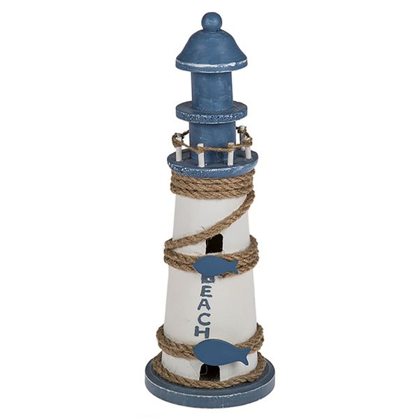 """Deko Holz Leuchtturm """" BEACH"""" 30 cm"""