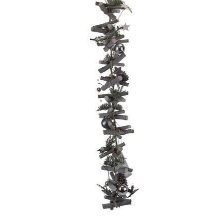 Girlande natur grau/weiß m.LED-Blatt 100cm