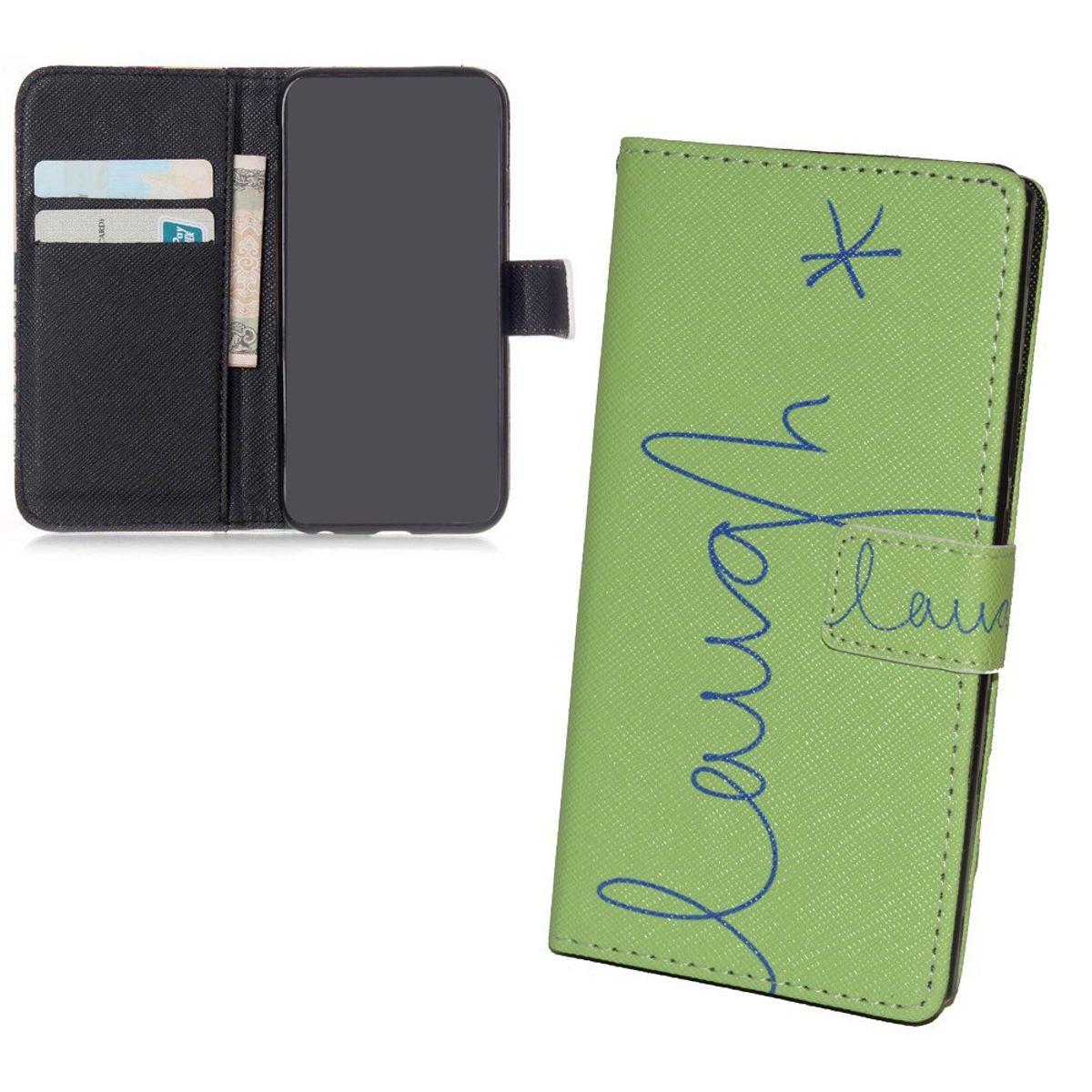 Handyhülle Tasche für Handy Samsung Galaxy S6  Schriftzug Lachen Grün