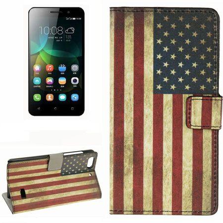 Handyhülle Tasche für Handy Huawei Honor 4C Retro Fahne USA