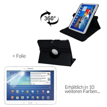 Schutzhülle Tablettasche (Flip Quer) für Samsung Galaxy Tab 3 10.1 P5200 Schwarz + Displayschutzfolie