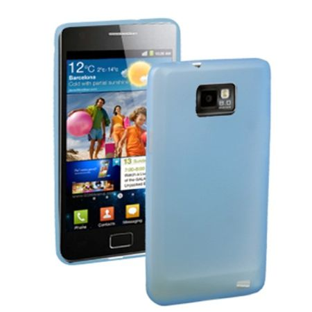 Schutzhülle Case Ultra Dünn 0,3mm für Handy Samsung Galaxy S2 i9100 Blau Transparent