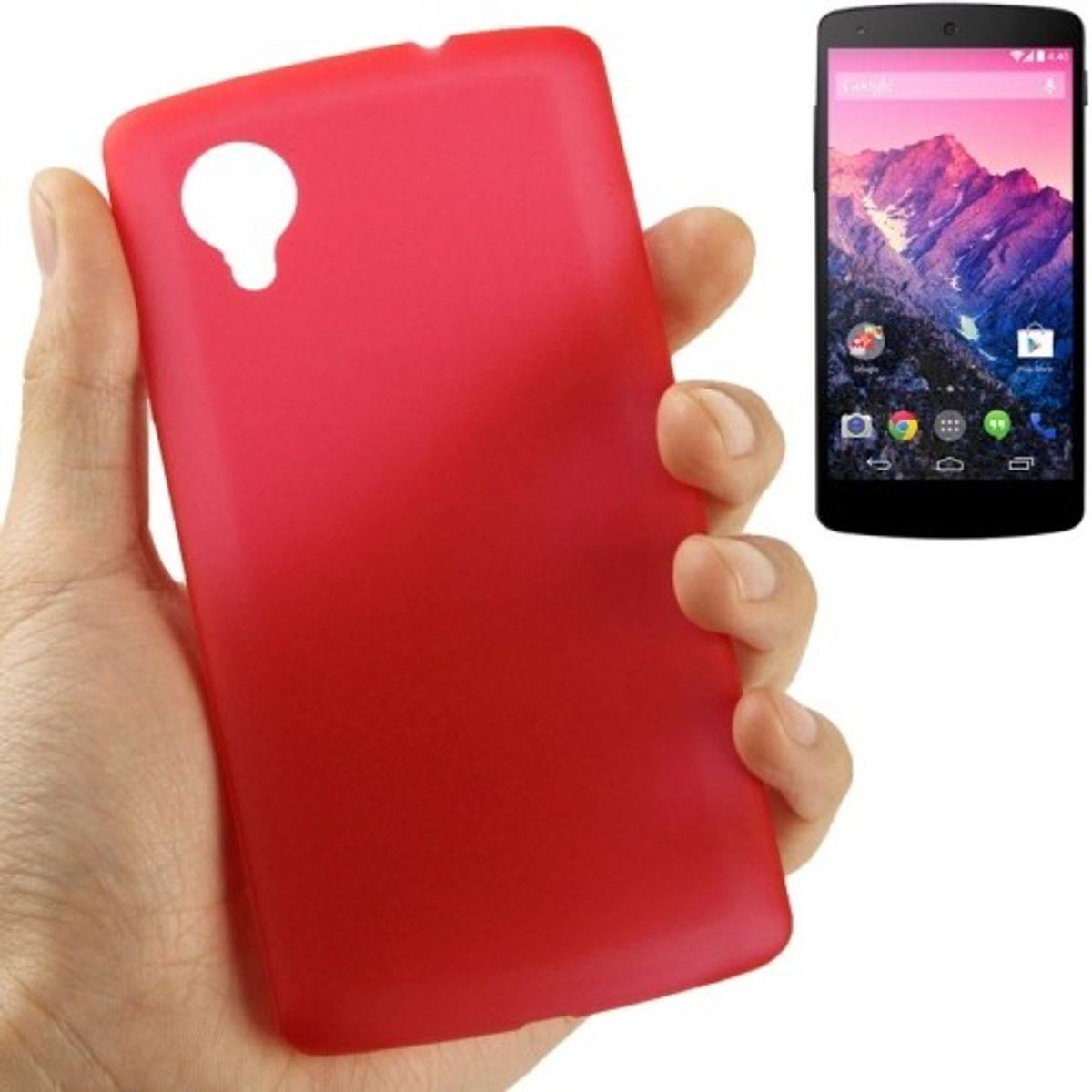 Schutzhülle Case Ultra Dünn 0,3mm für Handy Google Nexus 5 Rot Transparent