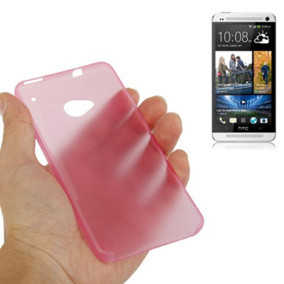 Schutzhülle Case Ultra Dünn 0,3mm für Handy HTC One M7 Rosa Transparent