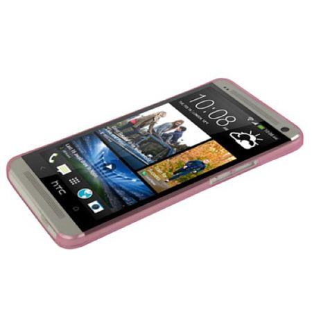 Schutzhülle Case Ultra Dünn 0,3mm für Handy HTC One M7 Rosa Transparent – Bild 2