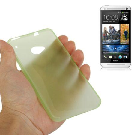 Schutzhülle Case Ultra Dünn 0,3mm für Handy HTC One M7 Grün Transparent