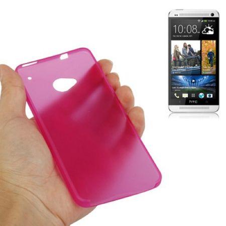 Schutzhülle Case Ultra Dünn 0,3mm für Handy HTC One M7 Pink Transparent