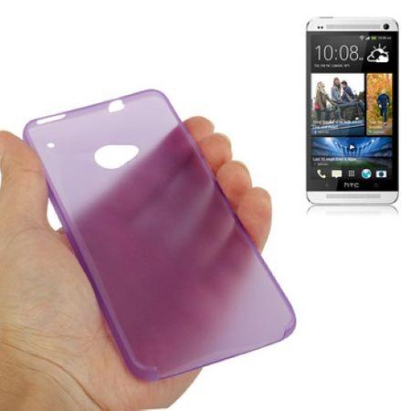 Schutzhülle Case Ultra Dünn 0,3mm für Handy HTC One M7 Lila / Violett Transparent