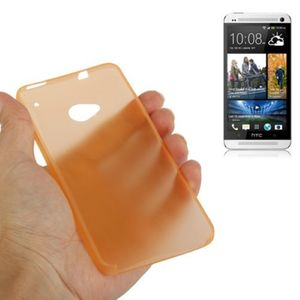 Schutzhülle Case Ultra Dünn 0,3mm für Handy HTC One M7 Orange Transparent