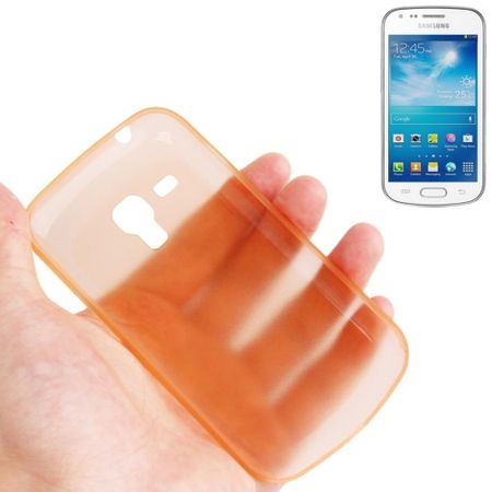 Schutzhülle Case Ultra Dünn 0,3mm für Handy Samsung Galaxy Trend Duos / S7562 Orange Transparent